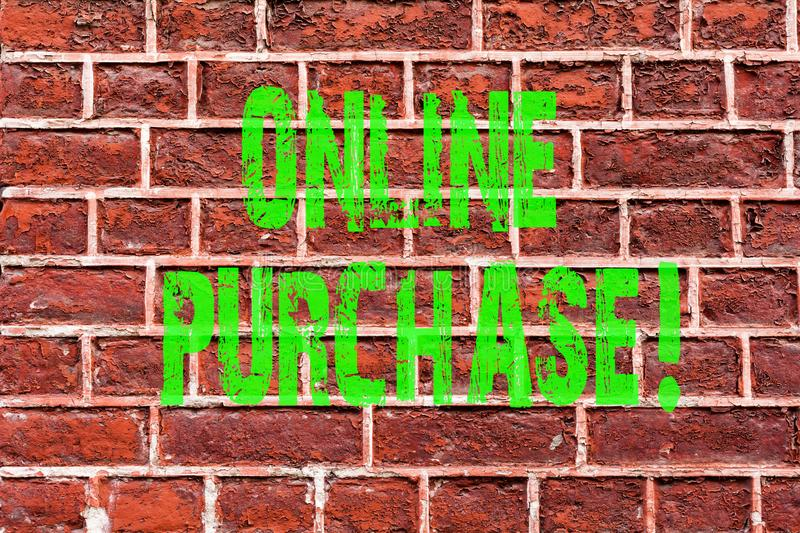 Word writing text Online Purchase. Business concept for Buy things on the net Go shopping without leaving home Brick Wall art like. Graffiti motivational call stock image