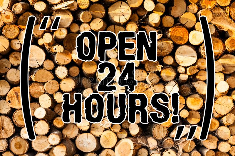 Word writing text Open 24 Hours. Business concept for Working all day everyday business store always operating Wooden. Background vintage wood wild message royalty free stock photos