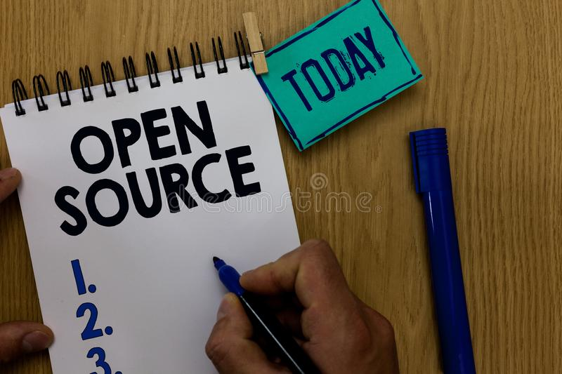 Word writing text Open Source. Business concept for denoting software which original source code freely available Man holding mark stock image