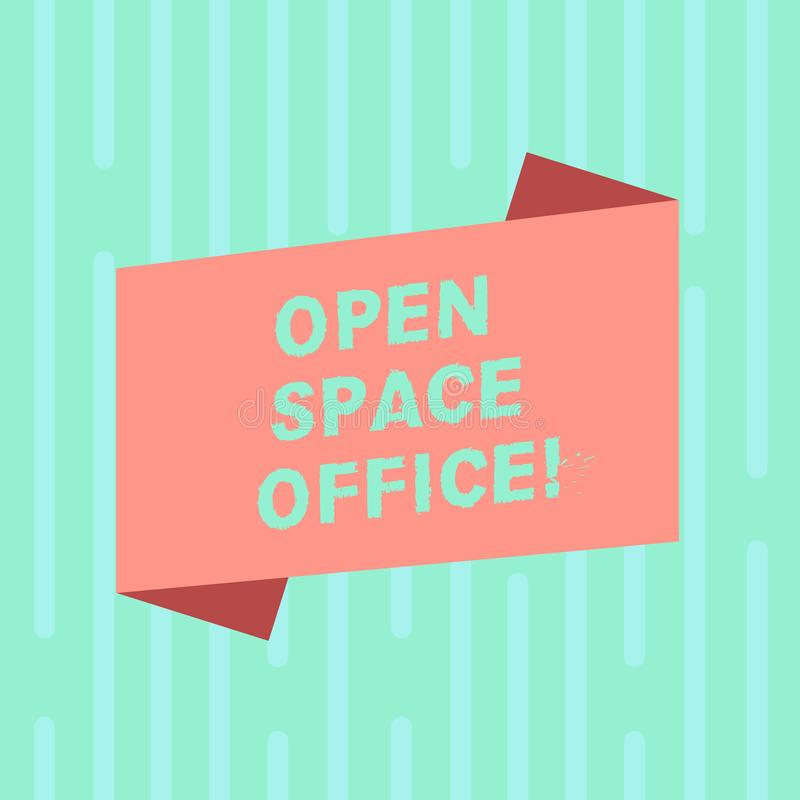 Word writing text Open Space Office. Business concept for minimizes use of small enclosed rooms as private offices Blank. Color Folded Banner Strip Flat Style royalty free illustration