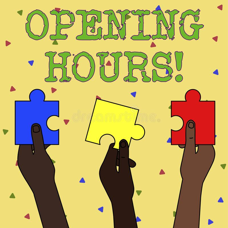 Word writing text Opening Hours. Business concept for the time during which a business is open for customers Three. Word writing text Opening Hours. Business stock illustration