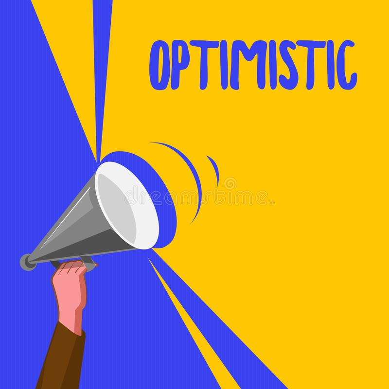 Word writing text Optimistic. Business concept for Hopeful and confident about the future Positive thinking.  royalty free illustration