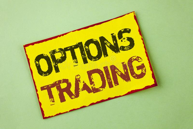 Word writing text Options Trading. Business concept for Options trading investment commodities stock market analysis written on Ye royalty free stock image
