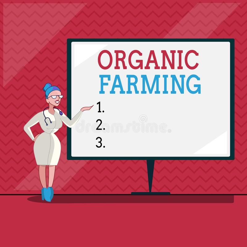 Word writing text Organic Farming. Business concept for an integrated farming system that strives for sustainability.  royalty free illustration