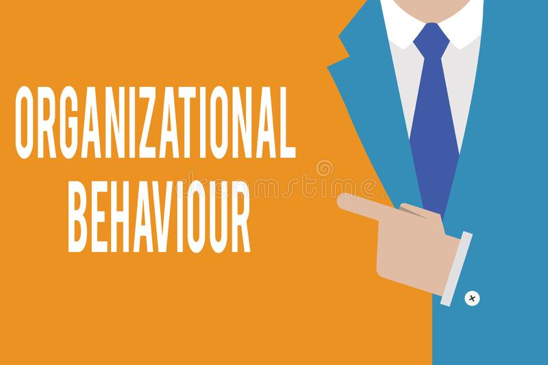 Word writing text Organizational Behaviour. Business concept for the study of the way people interact within groups royalty free stock images