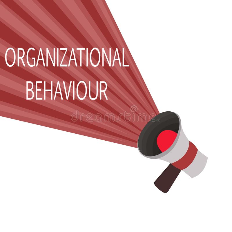 Word writing text Organizational Behaviour. Business concept for the study of the way people interact within groups.  vector illustration