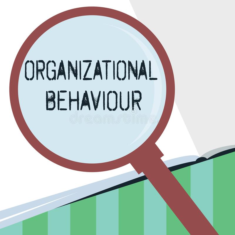 Word writing text Organizational Behaviour. Business concept for the study of the way people interact within groups royalty free illustration