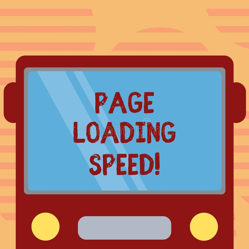 Word writing text Page Loading Speed. Business concept for time it takes to download and display content of web Drawn Flat Front. View of Bus with Blank Color stock illustration