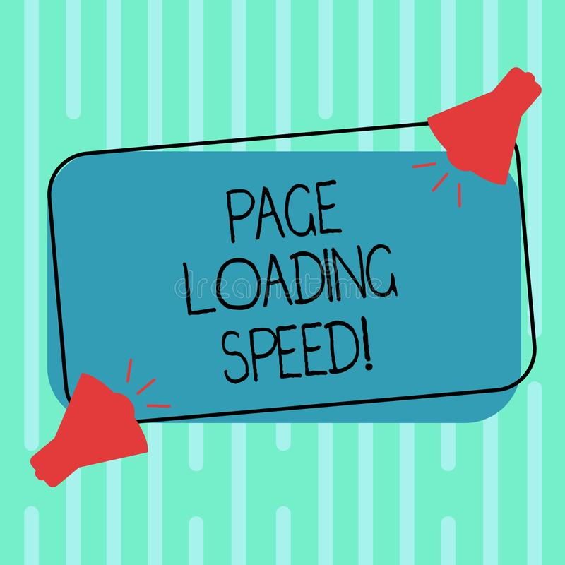 Word writing text Page Loading Speed. Business concept for time it takes to download and display content of web Two Megaphone with. Sound icon on Blank Color vector illustration