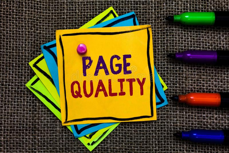 Word writing text Page Quality. Business concept for Effectiveness of a website in terms of appearance and function Paper notes Im. Portant reminders Communicate stock image