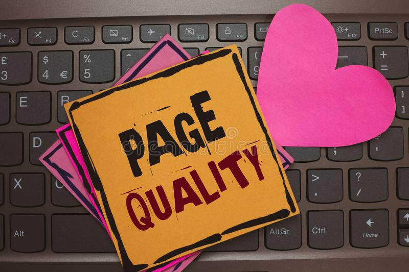 Word writing text Page Quality. Business concept for Effectiveness of a website in terms of appearance and function Papers Romanti. C lovely message Heart royalty free stock photos