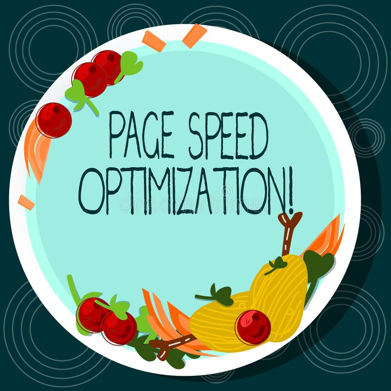 Word writing text Page Speed Optimization. Business concept for Improve the speed of content loading in a webpage Hand. Drawn Lamb Chops Herb Spice Cherry stock illustration