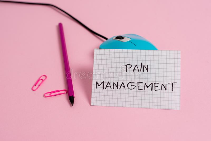 Word writing text Pain Management. Business concept for a branch of medicine employing an interdisciplinary approach. Word writing text Pain Management. Business royalty free stock photos