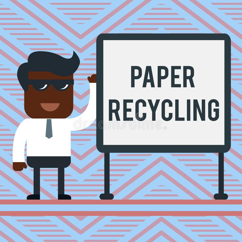 Word writing text Paper Recycling. Business concept for Using the waste papers in a new way by recycling them Office. Word writing text Paper Recycling. Business vector illustration