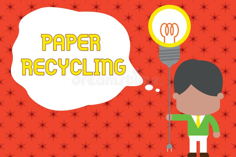 Word writing text Paper Recycling. Business concept for Using the waste papers in a new way by recycling them Standing. Word writing text Paper Recycling royalty free illustration