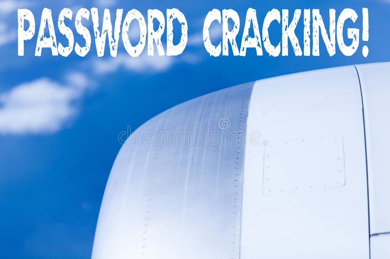 Word writing text Password Cracking. Business concept for measures used to discover computer passwords from data. Word writing text Password Cracking. Business royalty free stock photos