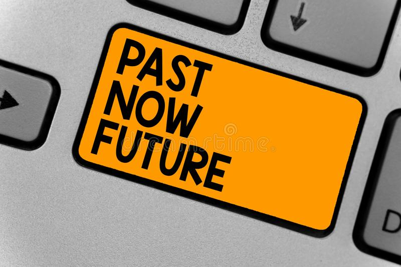 Word writing text Past Now Future. Business concept for Last time Present Following actions Destiny Memories Keyboard orange key I royalty free stock images