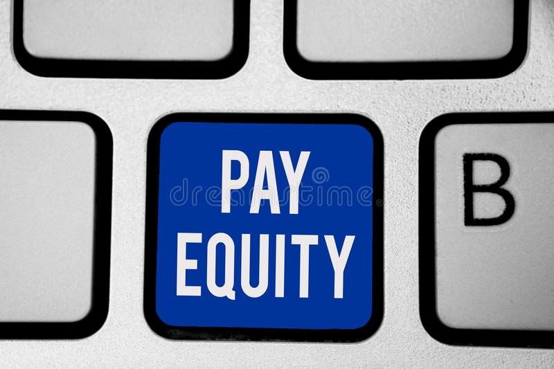 Word writing text Pay Equity. Business concept for eliminating sex and race discrimination in wage systems Keyboard blue key Inten. Tion create computer stock photo