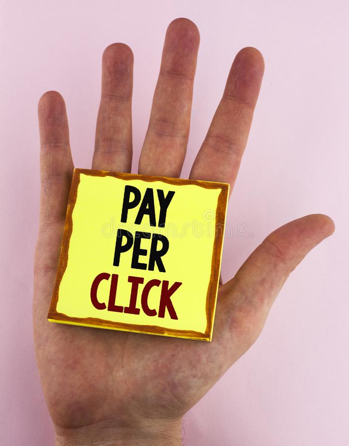 Word writing text Pay Per Click. Business concept for Get money from visitors Ads Advertising SEO Marketing written on Sticky Note. Word writing text Pay Per royalty free stock photography