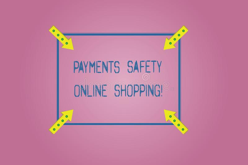 Word writing text Payments Safety Online Shopping. Business concept for Ecommerce security payment protection Square Outline with. Corner Arrows Pointing royalty free stock photos