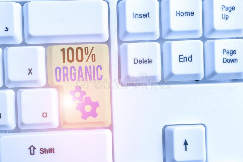 Word writing text 100 Percent Organic. Business concept for ingredients are certified no artificial food additives. Word writing text 100 Percent Organic stock images