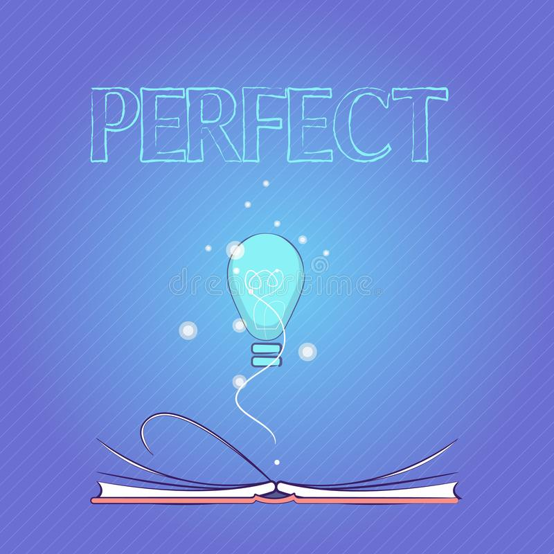 Word writing text Perfect. Business concept for Having all required desirable elements qualities characteristics.  vector illustration