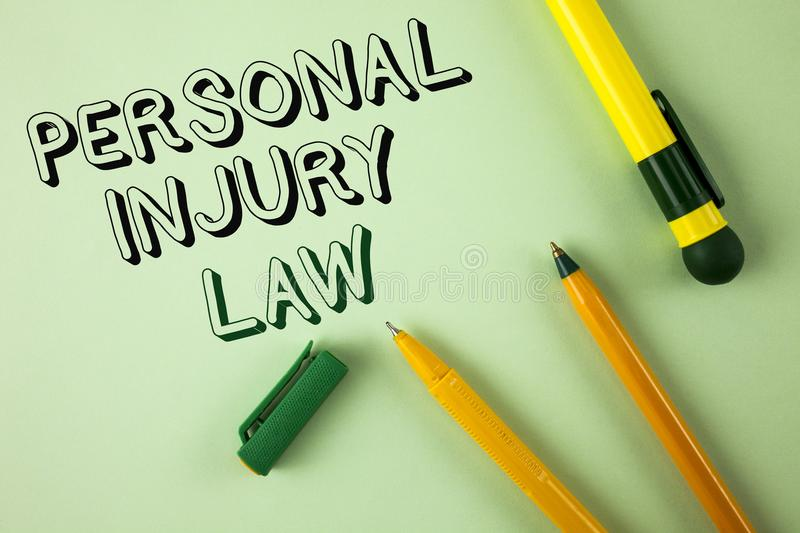 Word writing text Personal Injury Law. Business concept for guarantee your rights in case of hazards or risks written on Plain Gre. Word writing text Personal royalty free stock photo