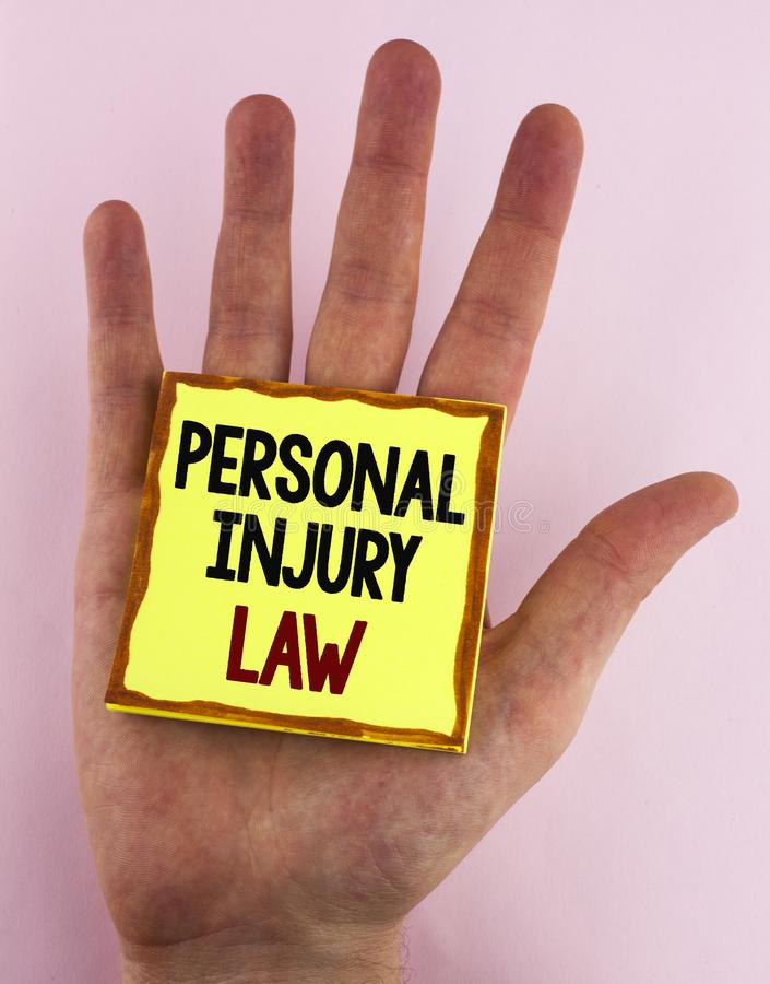 Word writing text Personal Injury Law. Business concept for guarantee your rights in case of hazards or risks written on Sticky No. Word writing text Personal stock photos