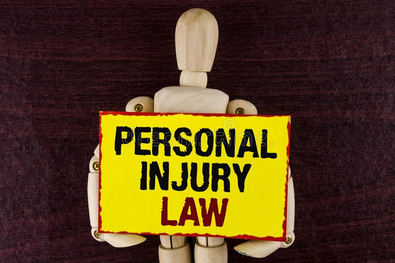 Word writing text Personal Injury Law. Business concept for guarantee your rights in case of hazards or risks written on Sticky no. Word writing text Personal royalty free stock image