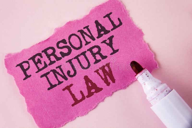 Word writing text Personal Injury Law. Business concept for guarantee your rights in case of hazards or risks written on Tear Pink. Word writing text Personal royalty free stock photography