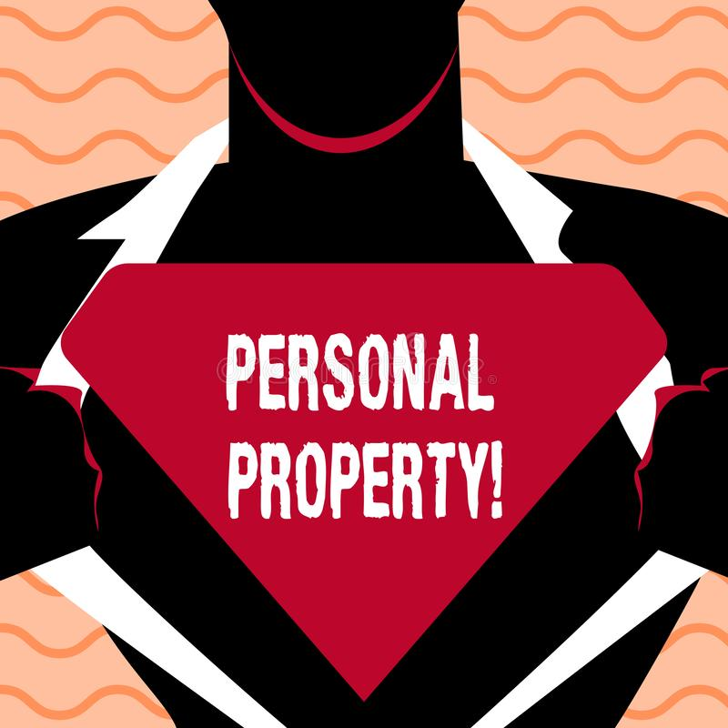 Word writing text Personal Property. Business concept for Belongings possessions assets private individual owner. Word writing text Personal Property. Business vector illustration
