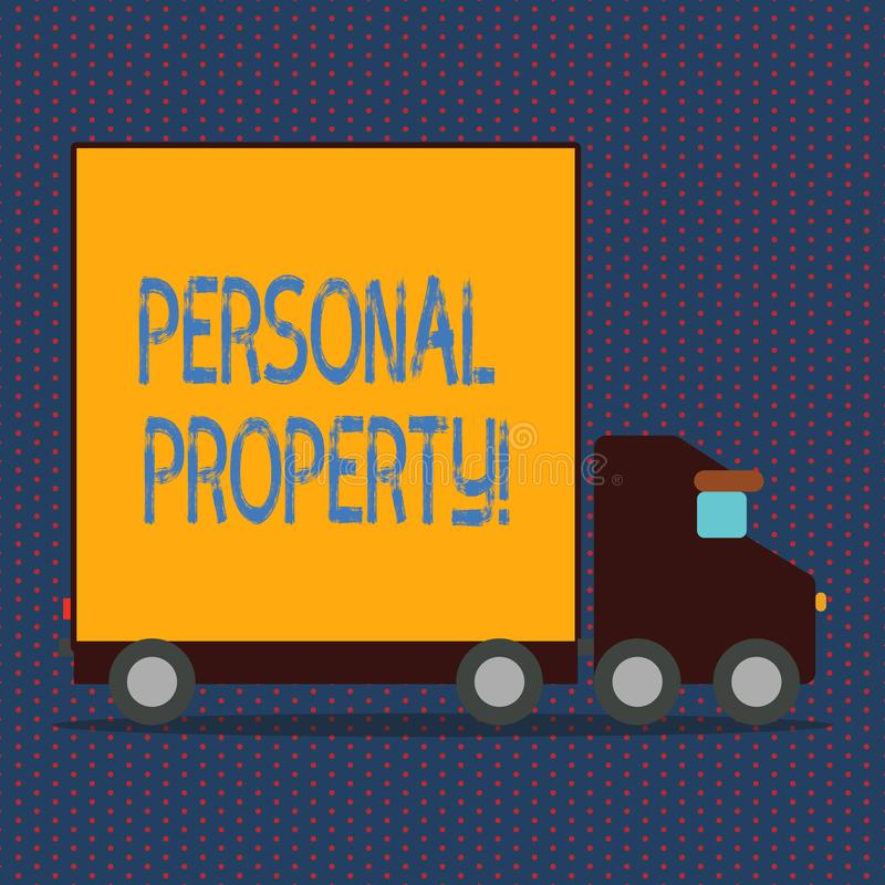 Word writing text Personal Property. Business concept for Belongings possessions assets private individual owner. Word writing text Personal Property. Business royalty free illustration