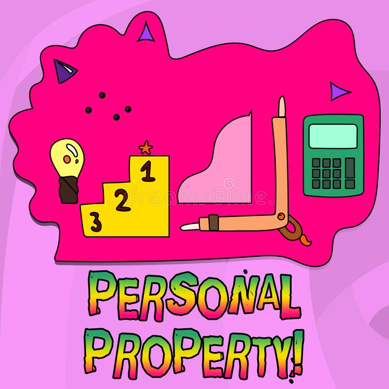 Word writing text Personal Property. Business concept for Belongings possessions assets private individual owner. Word writing text Personal Property. Business stock illustration