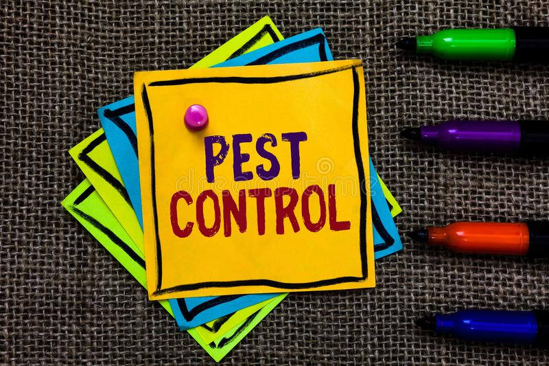 Word writing text Pest Control. Business concept for Killing destructive insects that attacks crops and livestock Paper notes Impo. Rtant reminders Communicate royalty free stock photos