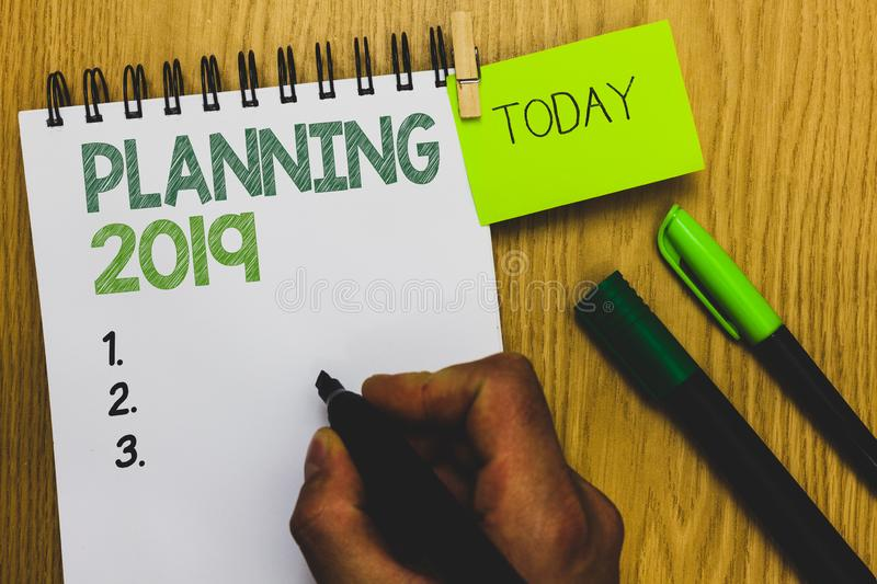 Word writing text Planning 2019. Business concept for Begin with end in the Mind Positioning Long term Objectives Man stock photography