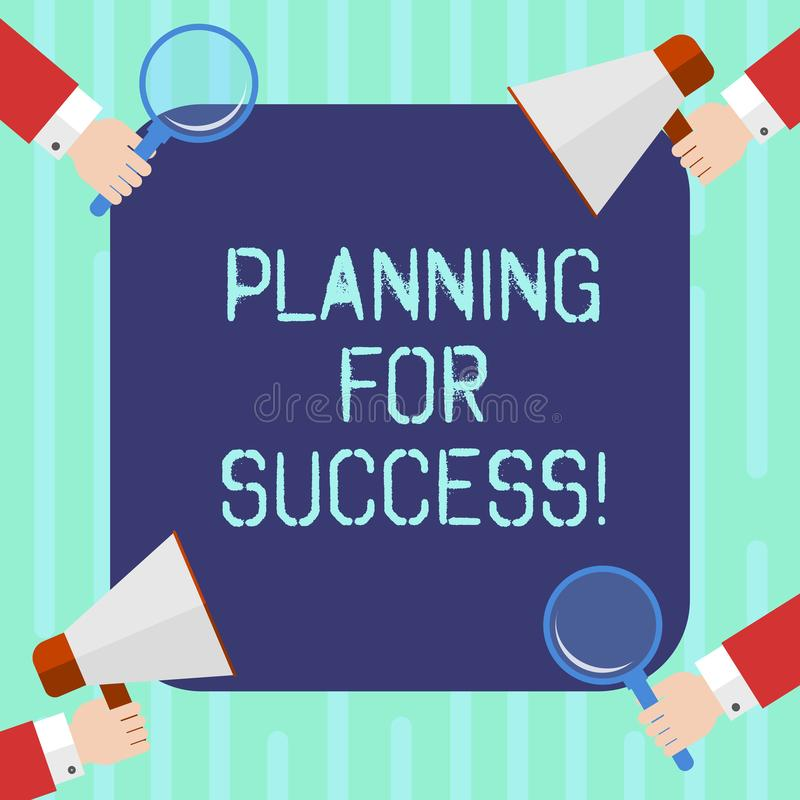 Word writing text Planning For Success. Business concept for process of setting goals and key actions to achieve Hu analysis Hands royalty free stock photo