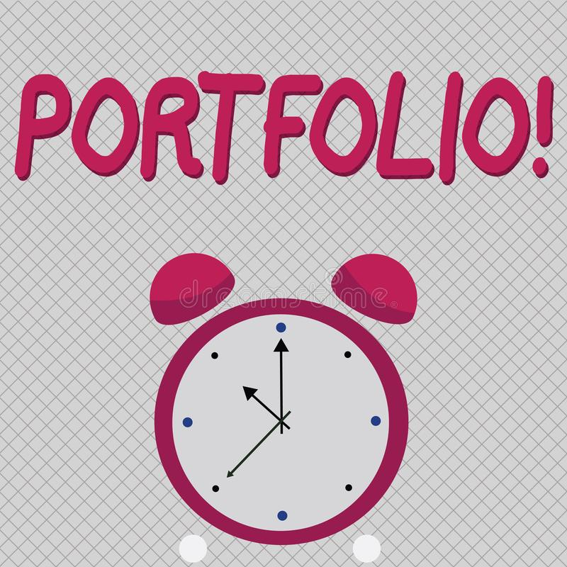 Word writing text Portfolio. Business concept for Examples of work used to apply for a job Combination of shares. Word writing text Portfolio. Business concept stock illustration