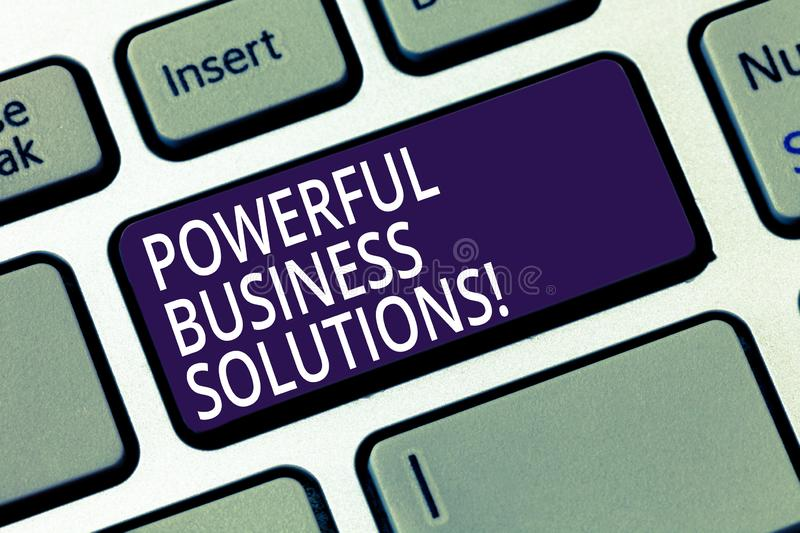 Word writing text Powerful Business Solutions. Business concept for ideas used to help a company achieve its goals. Keyboard key Intention to create computer royalty free stock photo