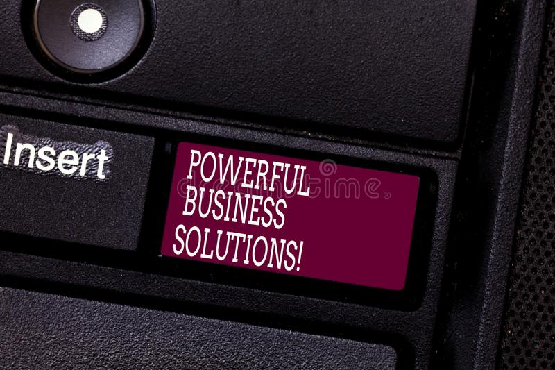 Word writing text Powerful Business Solutions. Business concept for ideas used to help a company achieve its goals. Keyboard key Intention to create computer stock photography