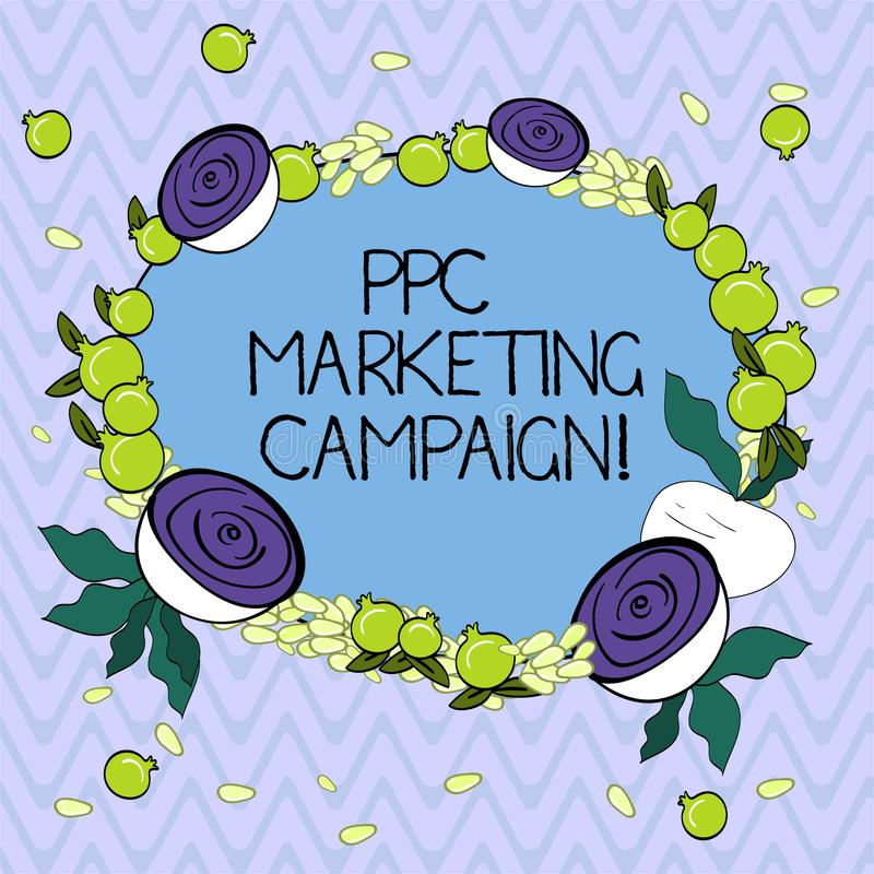 Word writing text Ppc Marketing Campaign. Business concept for pay a fee each time one of their ads is clicked Floral. Wreath made of Tiny Seeds Small Glossy vector illustration