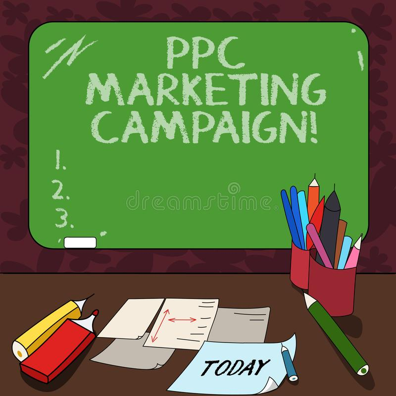 Word writing text Ppc Marketing Campaign. Business concept for pay a fee each time one of their ads is clicked Mounted. Blank Color Blackboard with Chalk and royalty free illustration