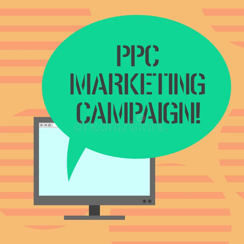 Word writing text Ppc Marketing Campaign. Business concept for pay a fee each time one of their ads is clicked Mounted. Computer Monitor Blank Screen with Oval vector illustration
