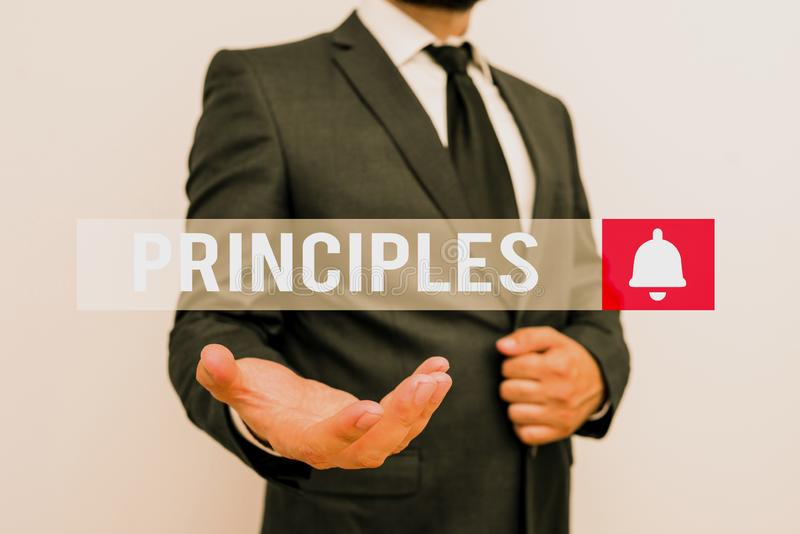 Word writing text Principles. Business concept for fundamental truth that serves as the base for a system of belief Male human. Word writing text Principles stock images