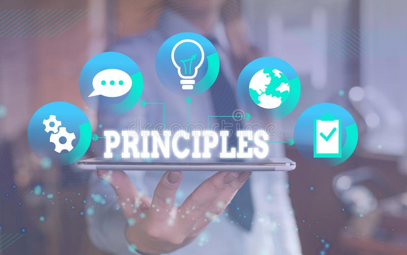 Word writing text Principles. Business concept for fundamental truth that serves as the base for a system of belief. Word writing text Principles. Business photo royalty free stock photo