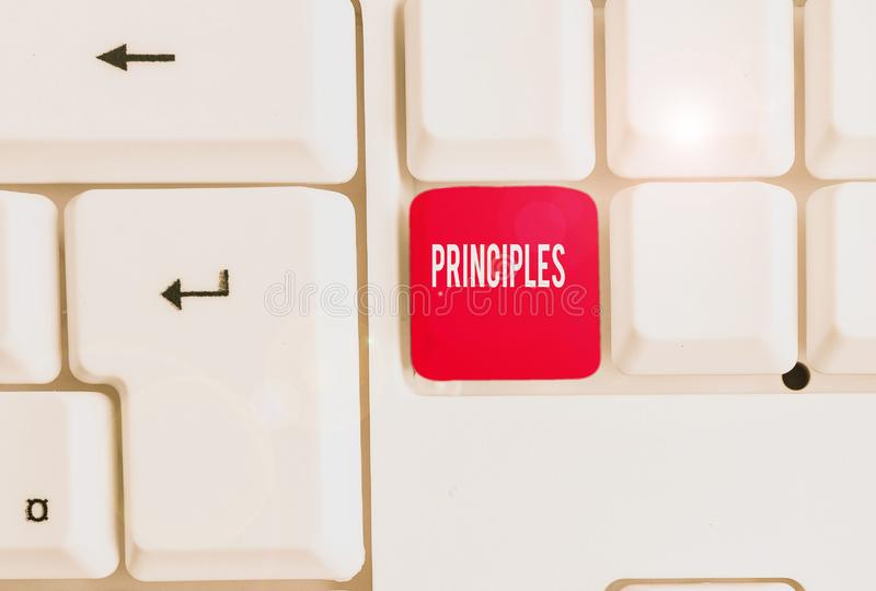 Word writing text Principles. Business concept for fundamental truth that serves as the base for a system of belief. Word writing text Principles. Business photo stock photos