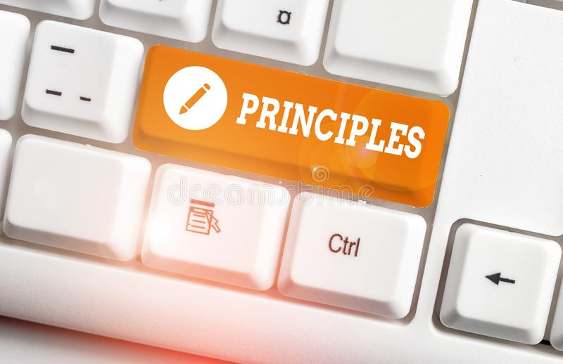 Word writing text Principles. Business concept for fundamental truth that serves as the base for a system of belief. Word writing text Principles. Business photo royalty free stock images