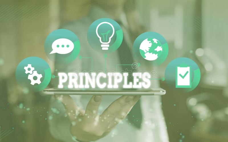 Word writing text Principles. Business concept for fundamental truth that serves as the base for a system of belief. Word writing text Principles. Business photo stock photo