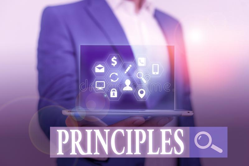Word writing text Principles. Business concept for fundamental truth that serves as the base for a system of belief. Word writing text Principles. Business stock image