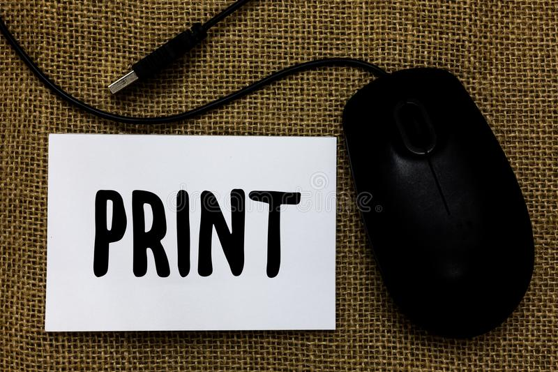 Word writing text Print. Business concept for Produce letter numbers symbols on paper by machine using ink or toner USB cable mous. E art paper mat thoughts royalty free stock photos
