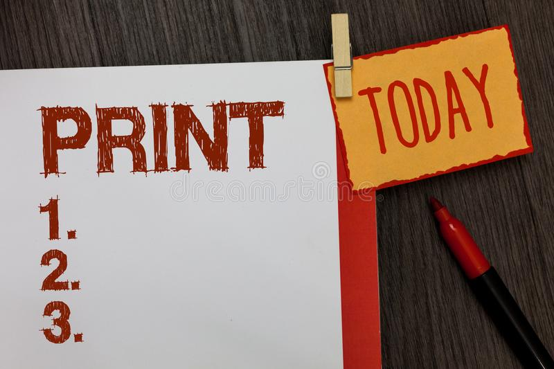 Word writing text Print. Business concept for Produce letter numbers symbols on paper by machine using ink or toner Work dairy mar. Ker pen listed paper colour royalty free stock image